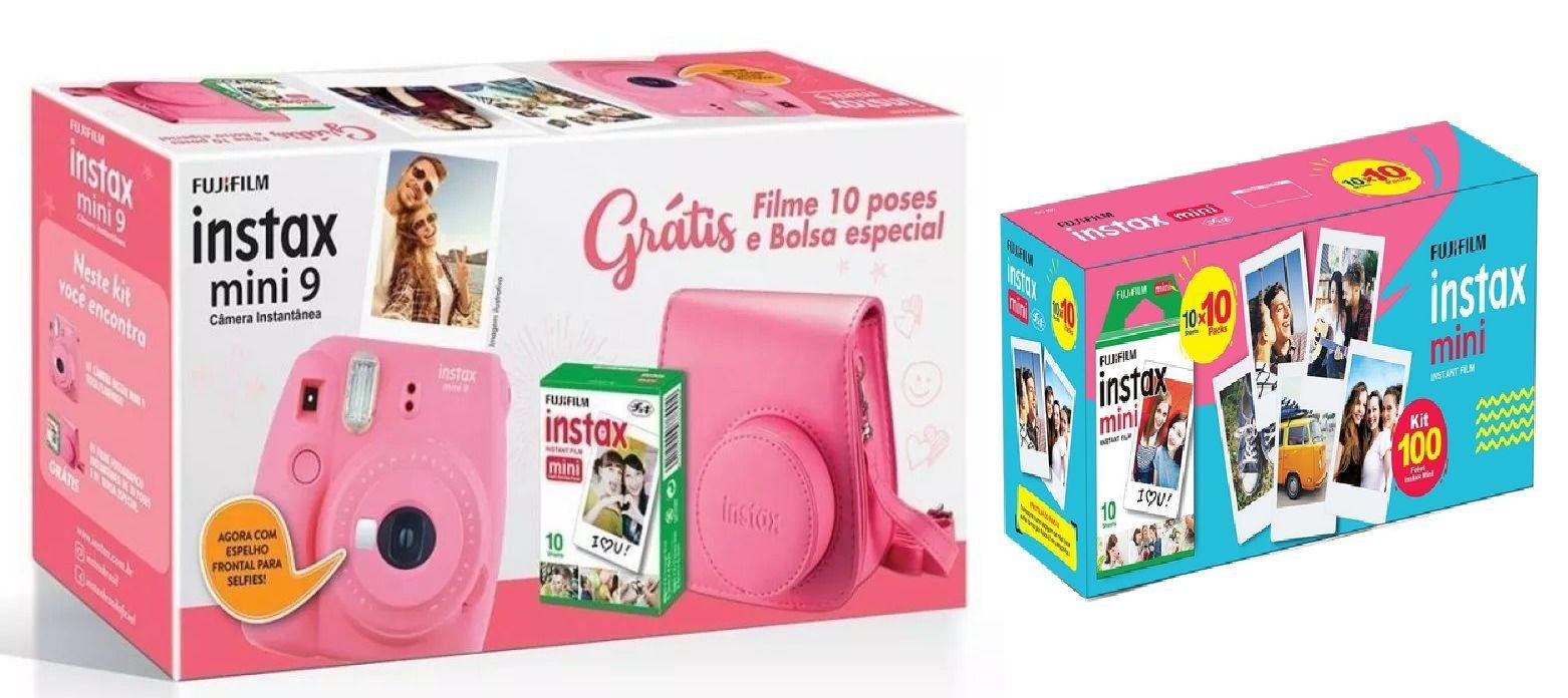 Kit Câmera Instantânea Instax Fujifilm Mini 9 Rosa Flamingo + 10 poses + Filme Fujifilm Instax 100 Fotos