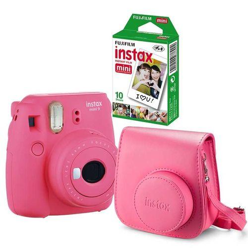 Kit Câmera Instantânea Instax Fujifilm Mini 9 Rosa Flamingo + Filme Fujifilm Instax 40 Fotos