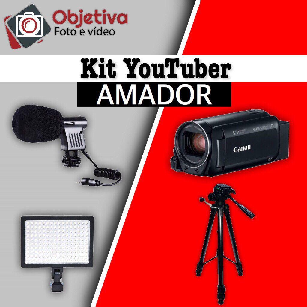 KIT YOUTUBER AMADOR - KIT CANON R800, MICROFONE, LED E TRIPÉ