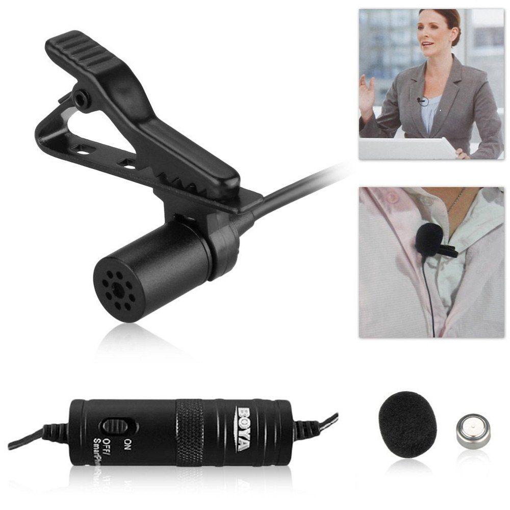 Microfone De Lapela Com Fio Boya BY-M1 Para Câmeras e Smartphones