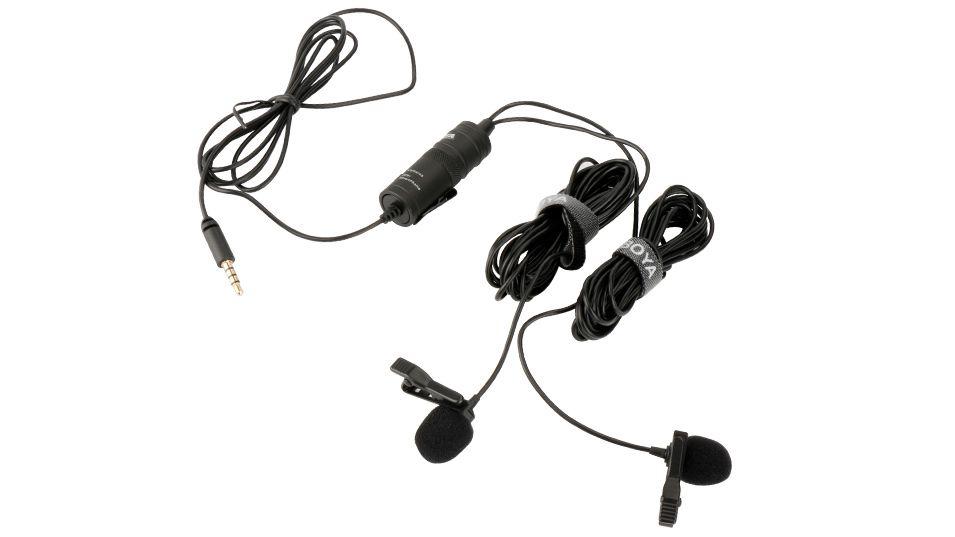Microfone de Lapela Com FIo Duplo Boya BY-M1DM Para Câmeras e Smartphones