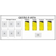 Quadro Gestão à Vista com 7 Porta Avisos e Organizadores Multifuncional
