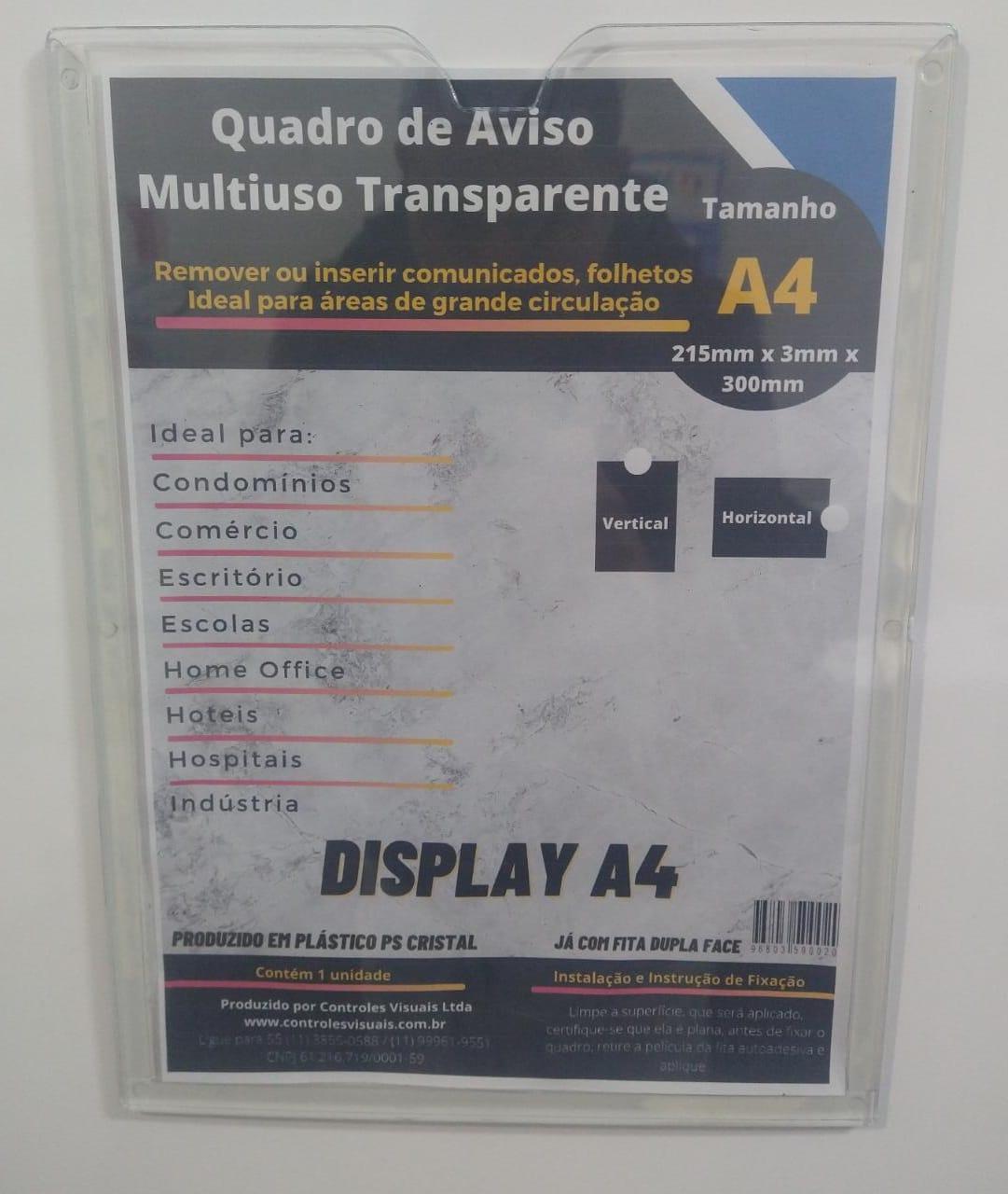 Display A4 Transparente Retrato Fixação Adesiva
