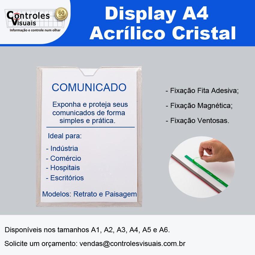 Display Acrílico Cristal A4 Paisagem Fixação Adesiva