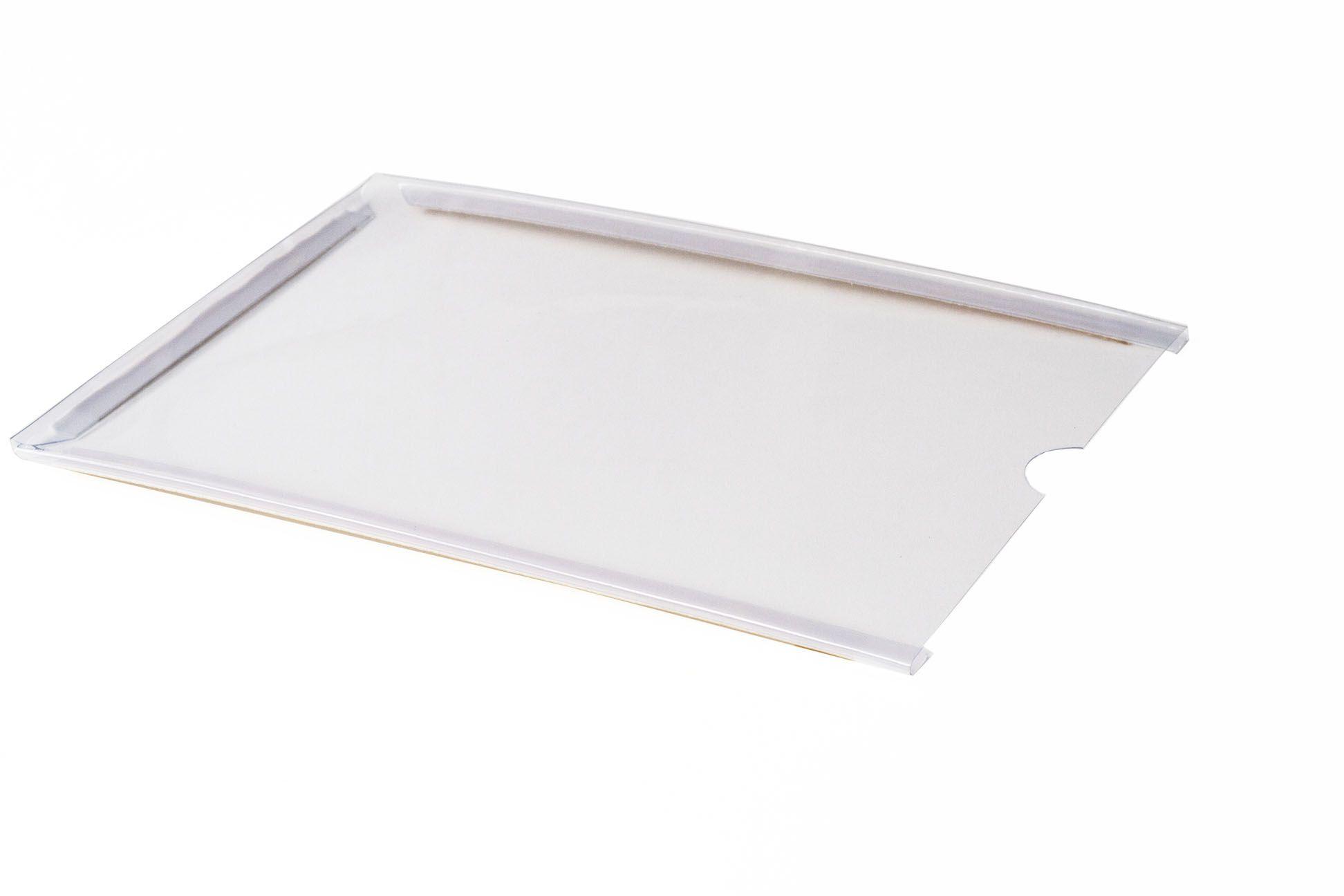 Display em PVC Cristal A3 Retrato Fixação Adesiva - Borda Colorida