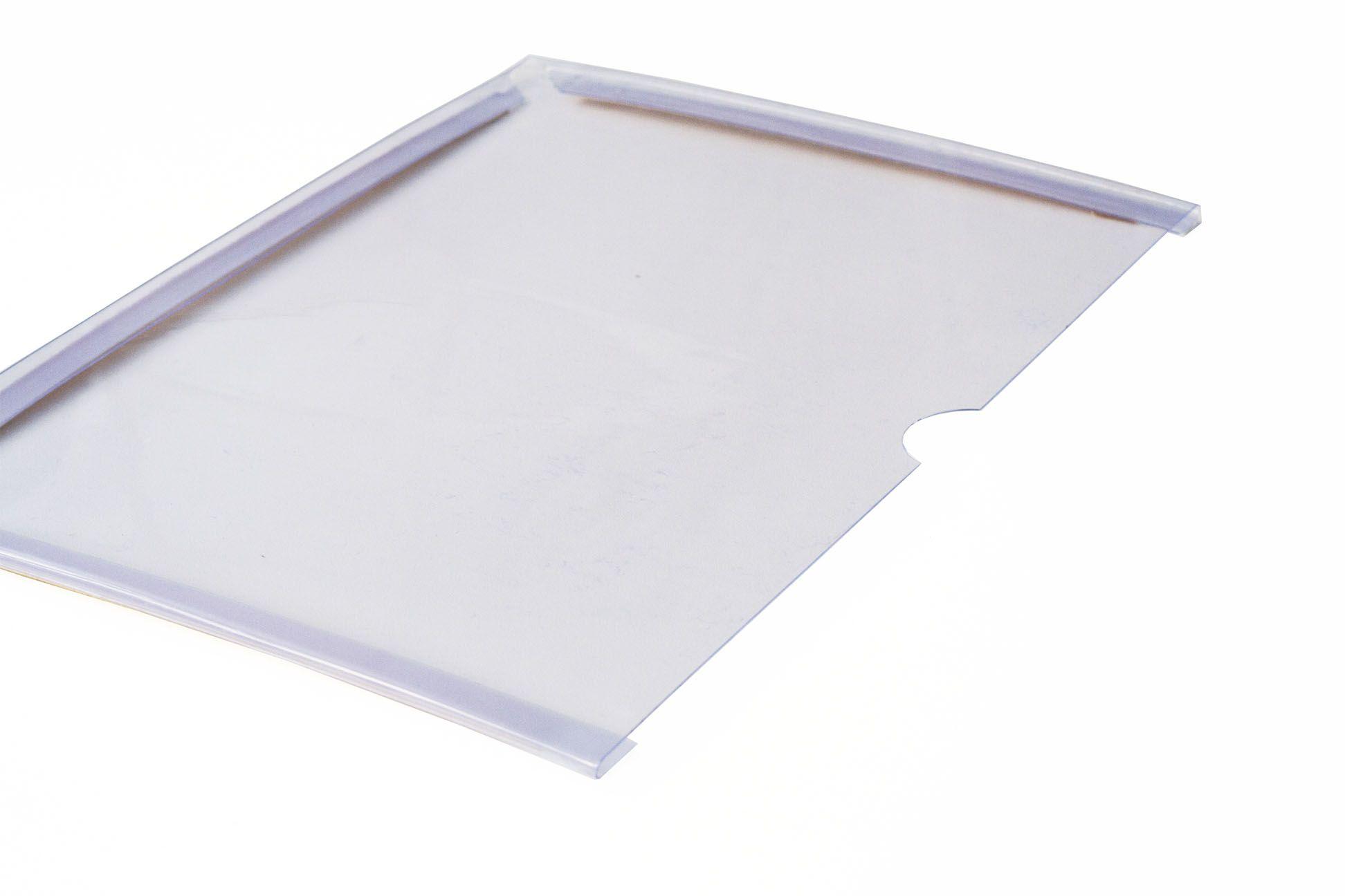 Display em PVC Cristal A4 Paisagem Fixação Adesiva - Borda Colorida