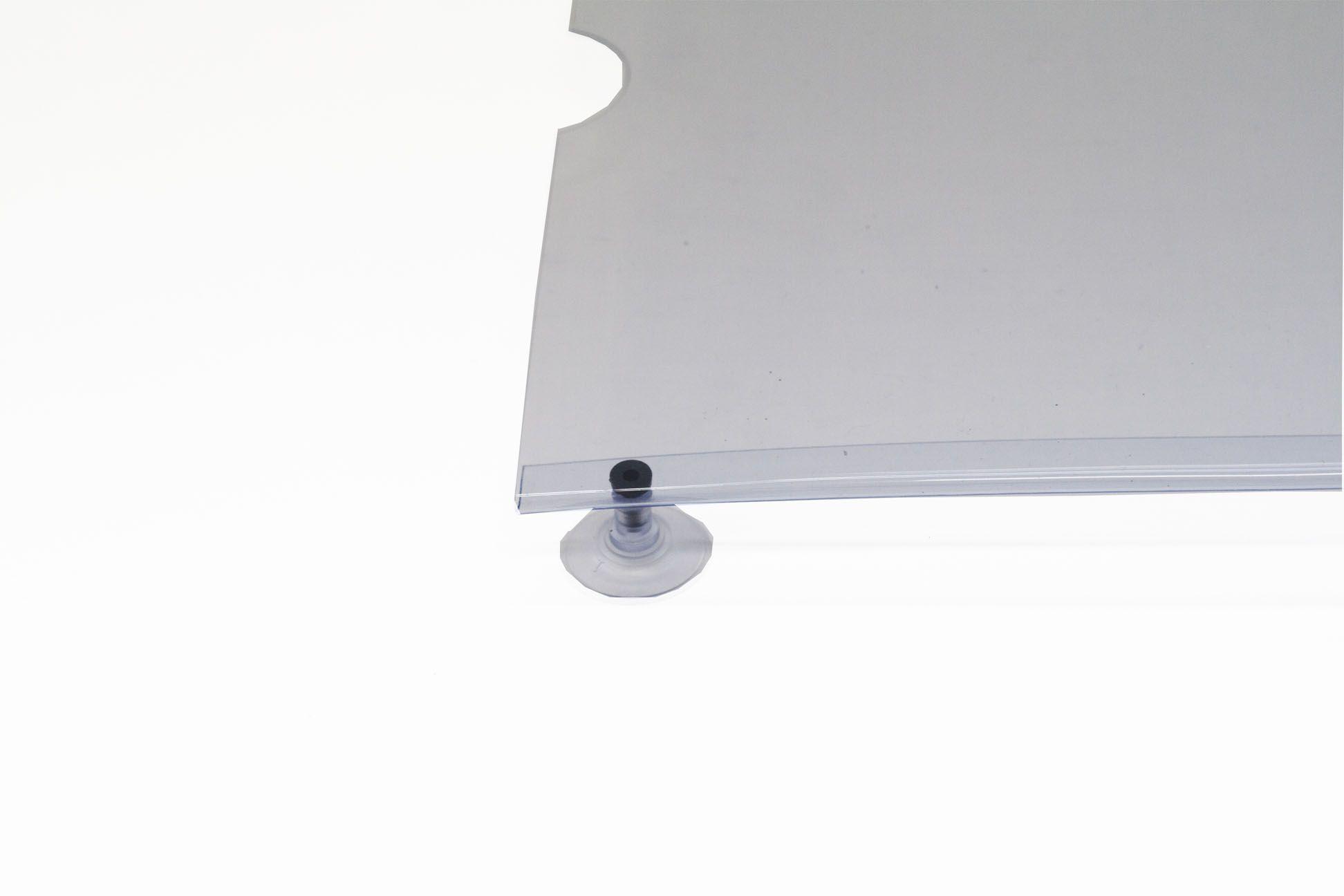 Display em PVC Cristal A4 Retrato Fixação Ventosa
