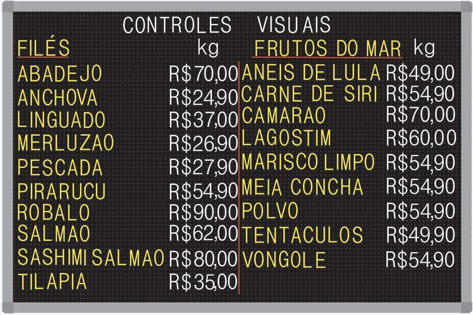 Tabela de Preço Furadinho - 90x60