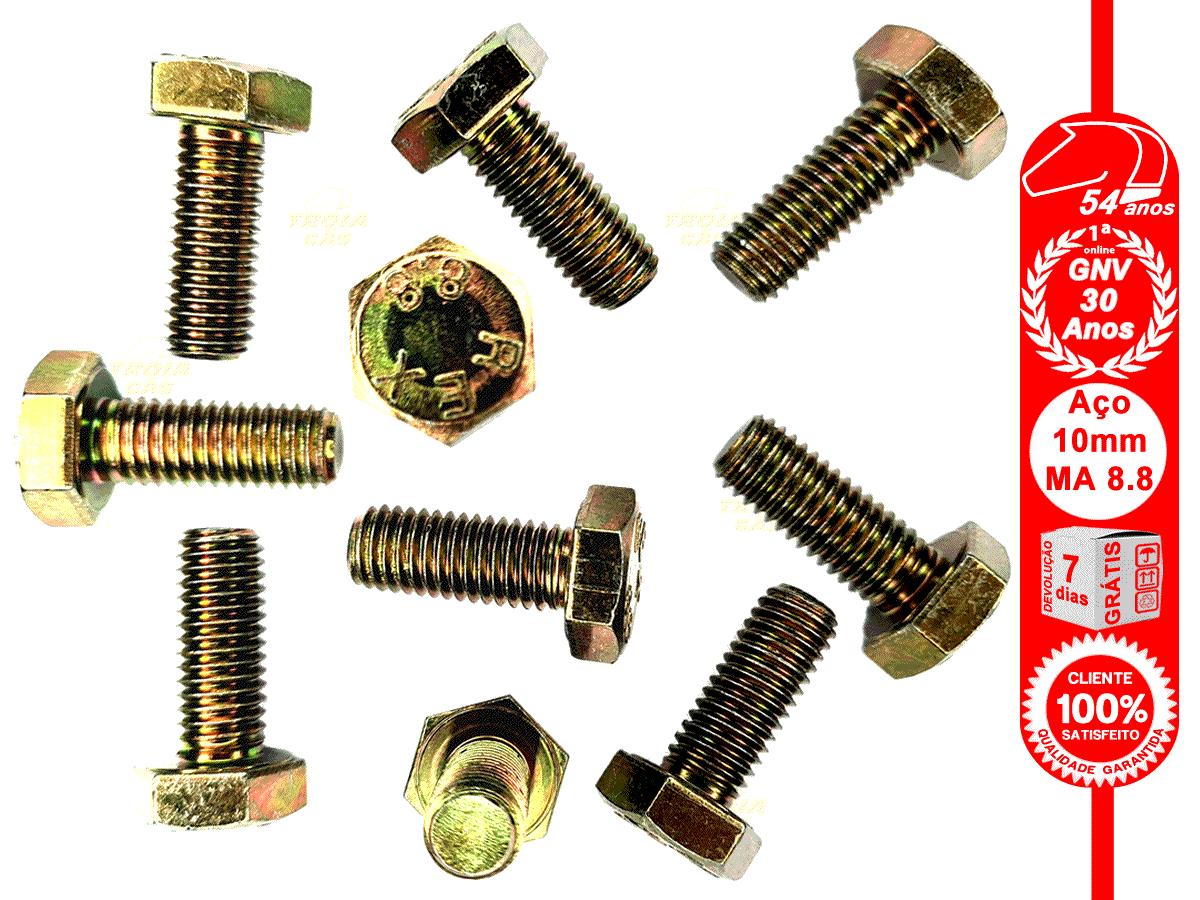 10 Parafusos 10x25mm Aço MA 8.8 Rosca Inteira