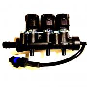 Rampa 3 Bicos Injetores Flauta GNV 5ª geração VALTEK Emer TURY GAS