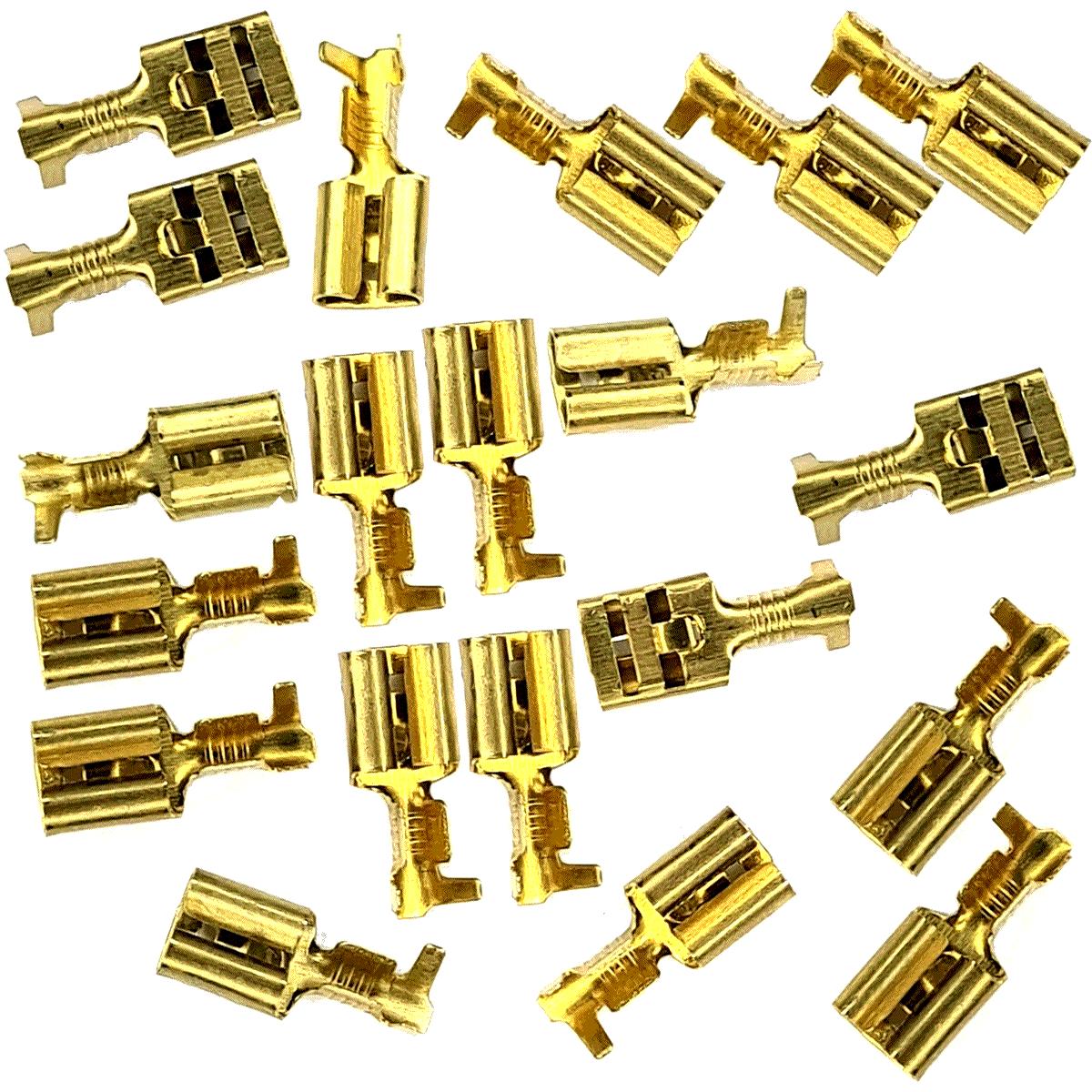 20 Terminais Fêmea com Trava Latão 6,3mm