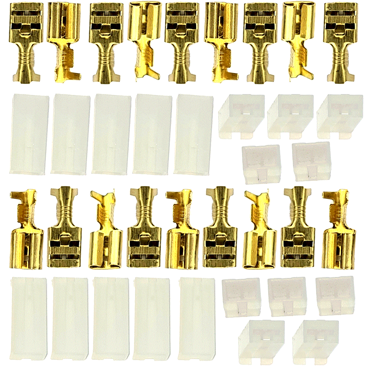 20 Terminais Fêmea e 20 Capas com Trava Latão 6,3mm