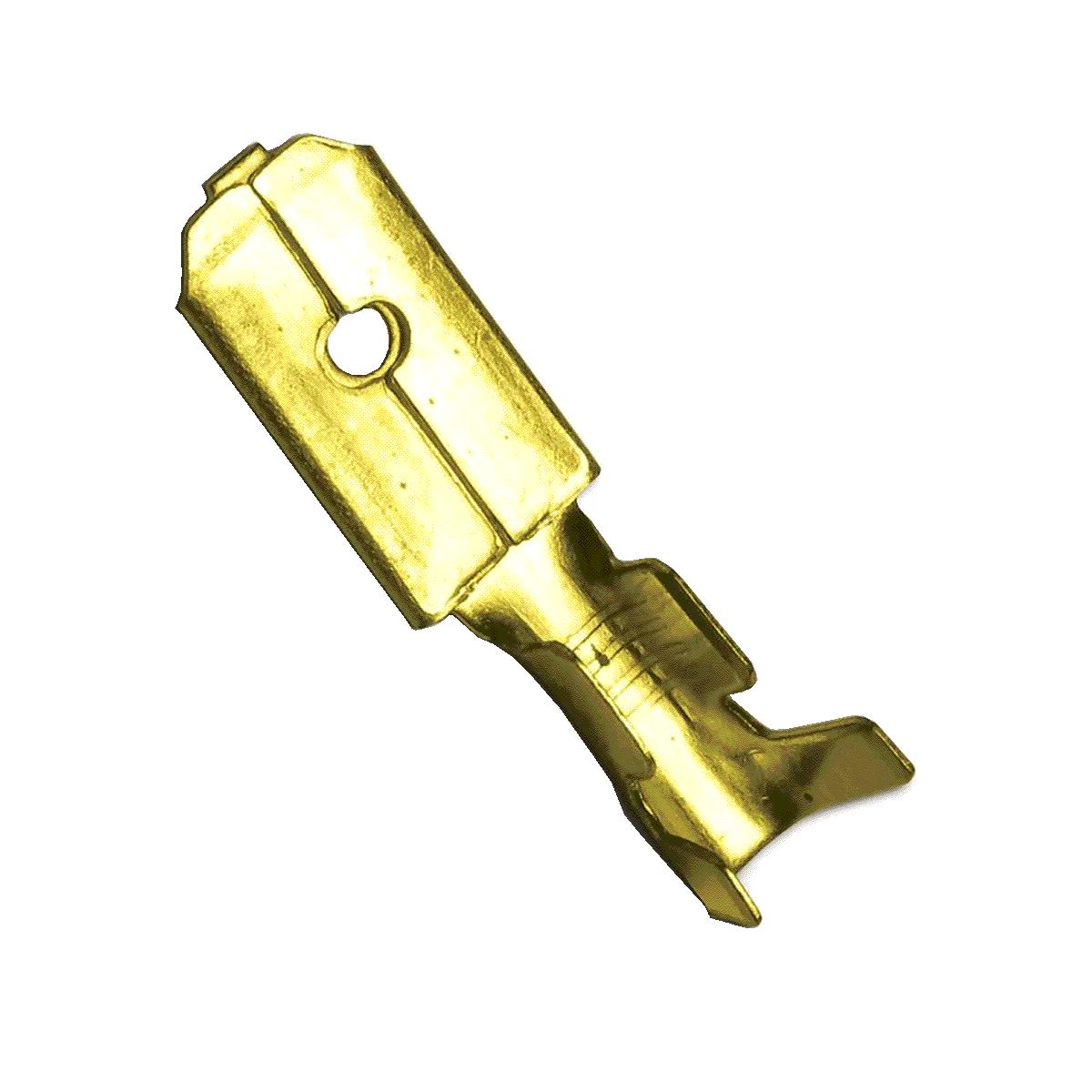 20 Terminais Macho Curto 6,3mm Latão