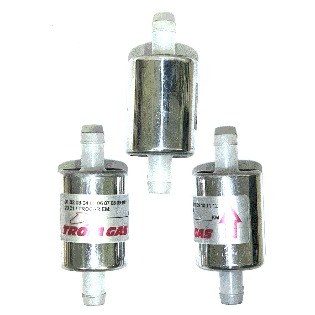 3 Filtros TROIAGAS 5ª e 6ª geração GNV protege bicos maioria dos kits