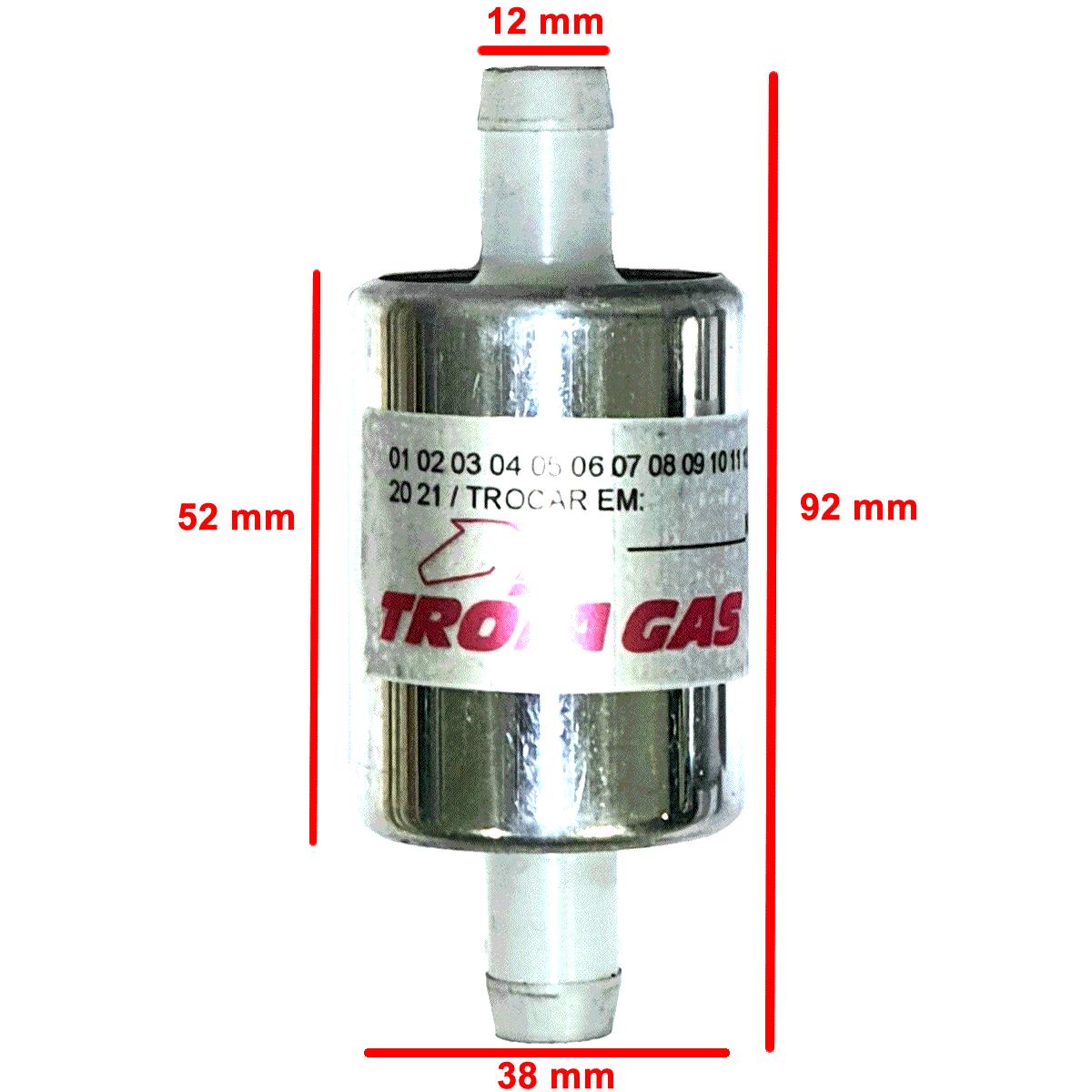 3 Filtros GNV 12 mm TROIAGAS 5ª e 6ª geração protege bicos maioria dos kits
