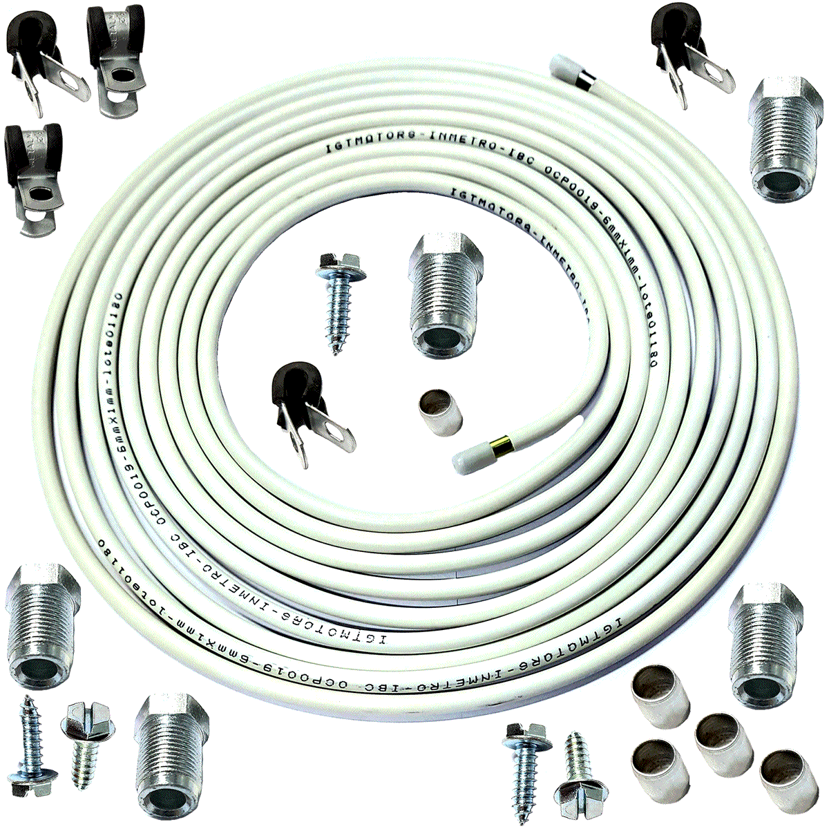 4 Kit Tubos de Alta GNV Revestido 4 Fixações e Conexões Cada