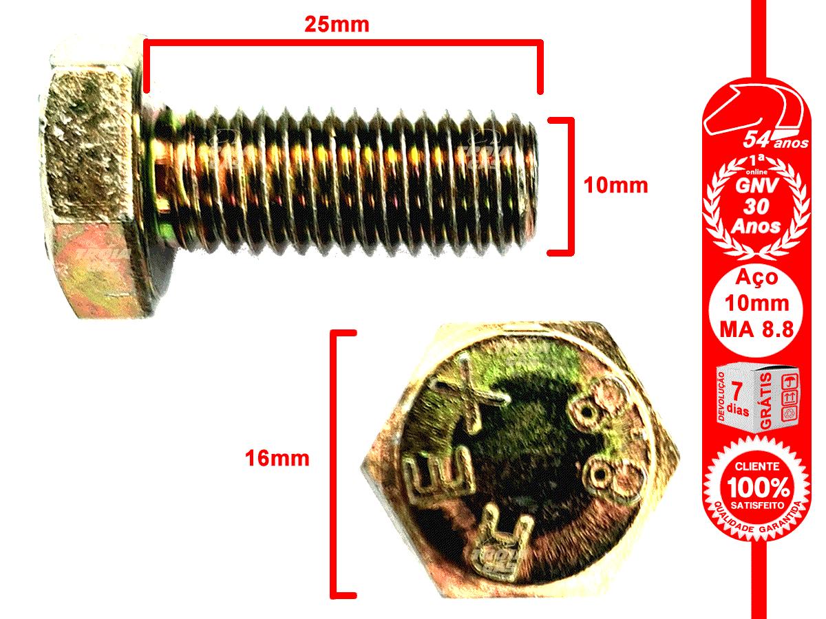 4 Parafusos 10x25mm 4 Porcas Aço MA 8.8 Bicromatizados