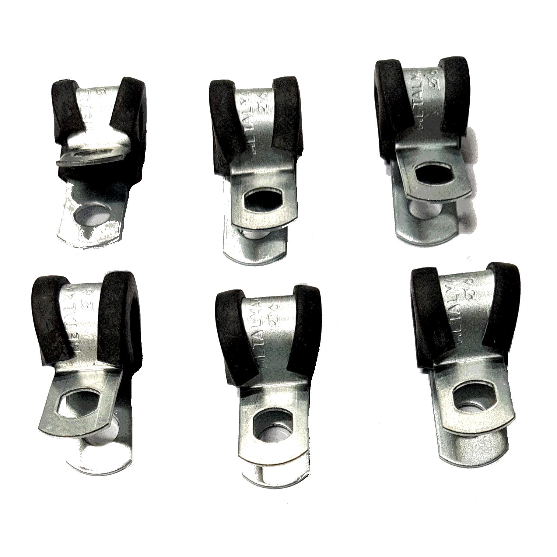 6 Abraçadeiras Metálicas com Borracha para Tubo de Alta