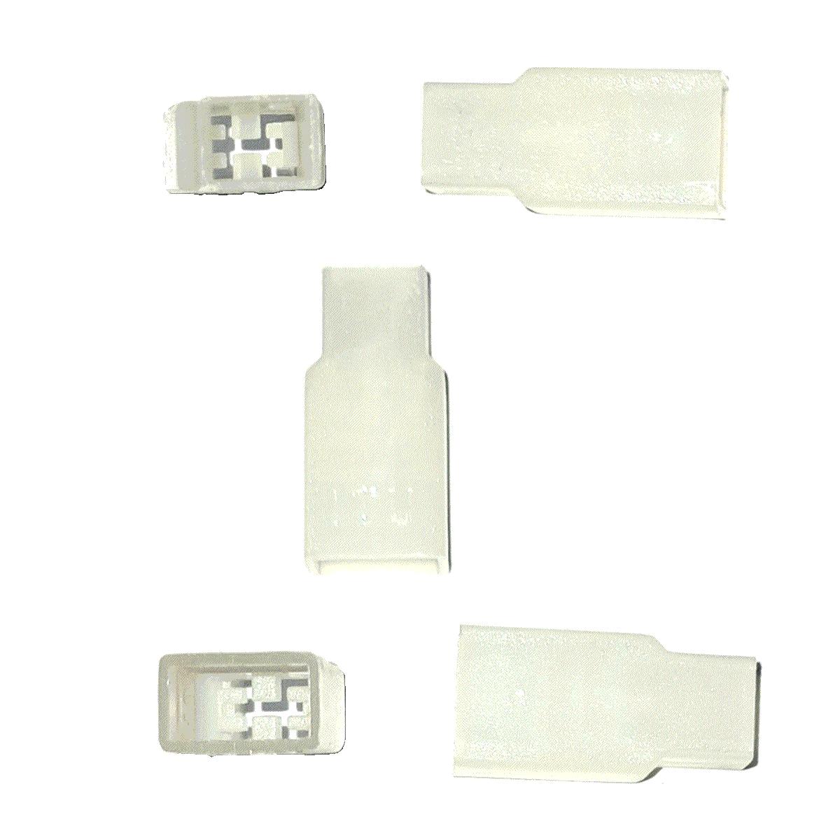 Capa Terminal Macho Curto 6,3 mm cor Natural em Poliestileno