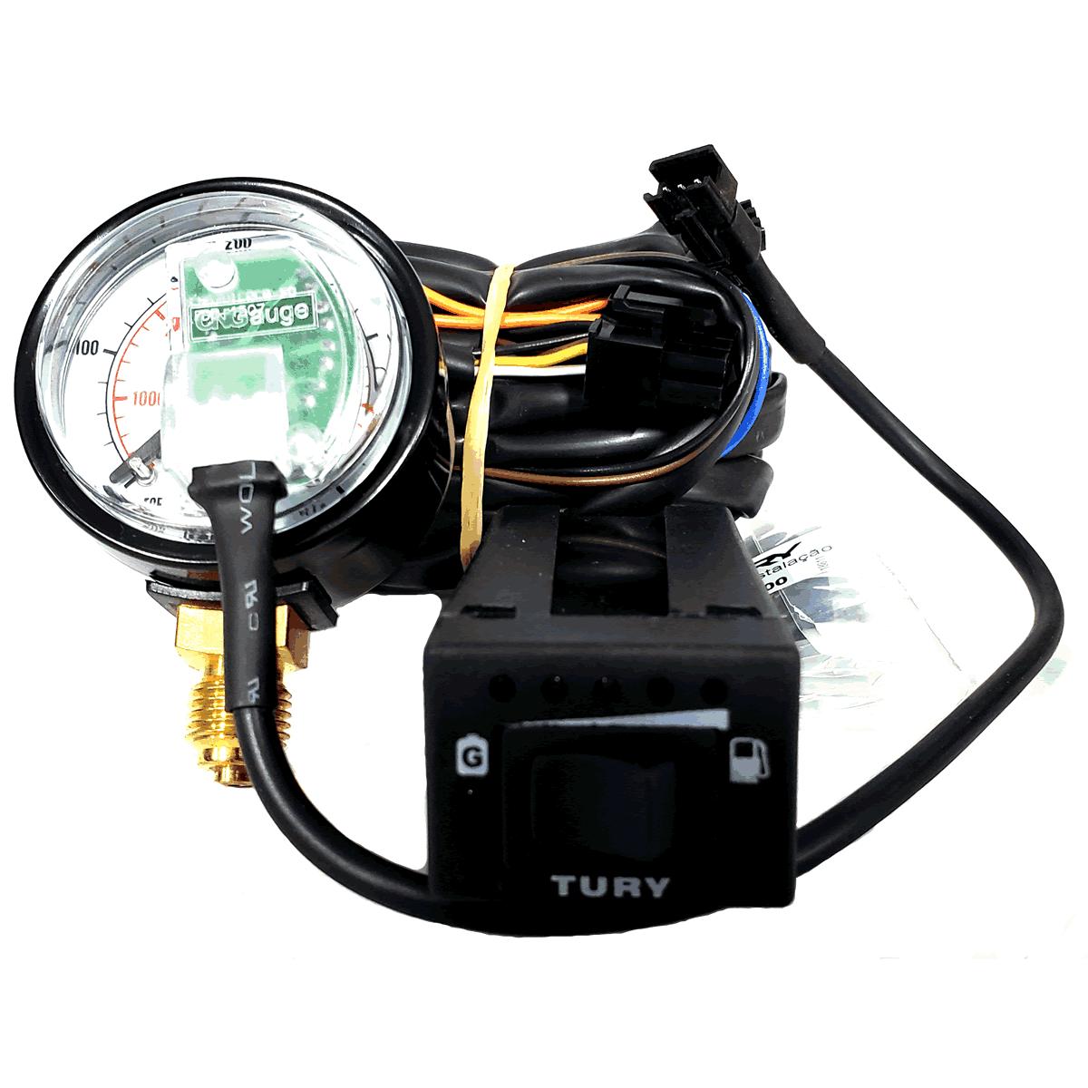 Conjunto Elétrico TURY GAS Chave Manômetro e Chicote T1000A