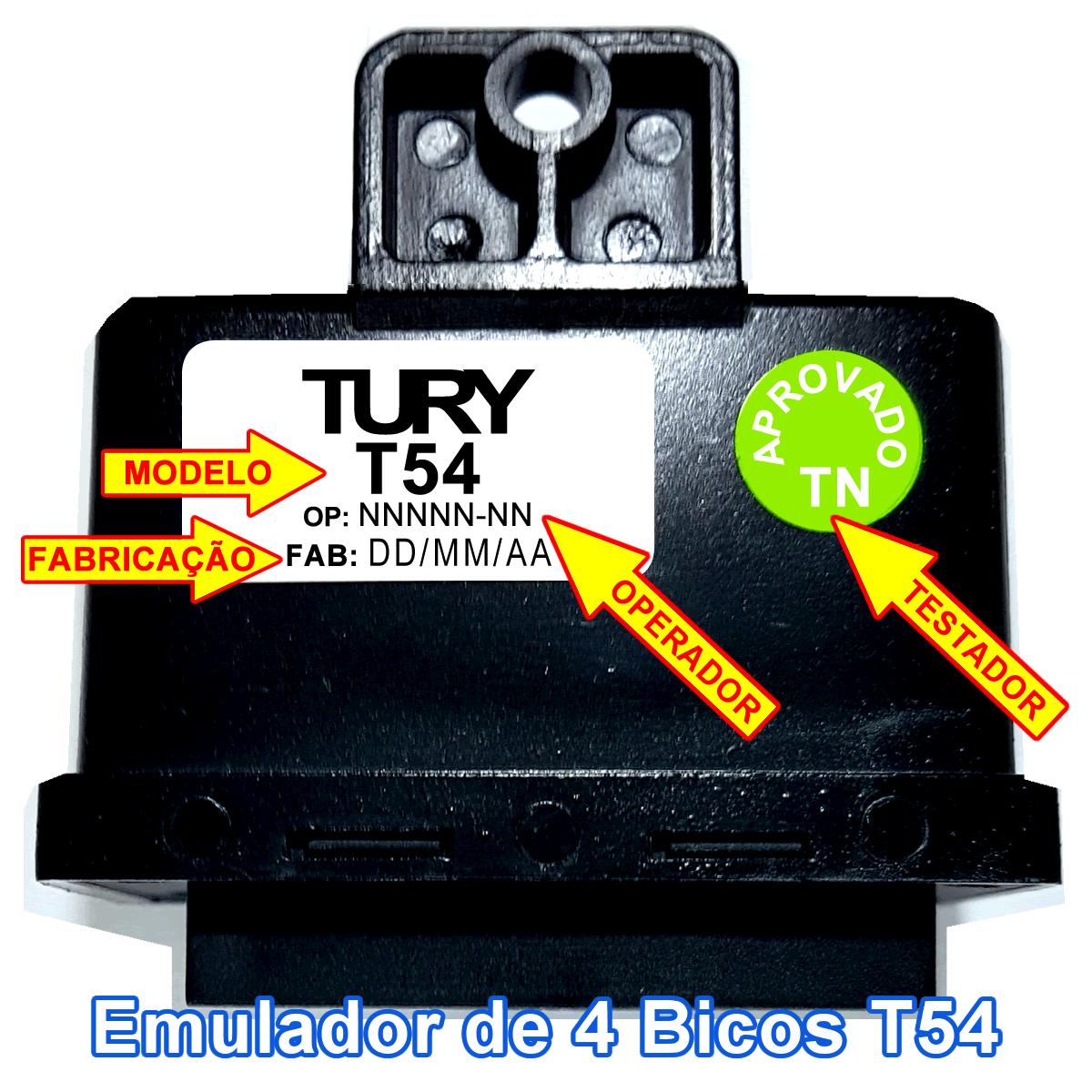 Emulador 4 Bicos Injetores com Chicote Conectores TURY GAS T54A