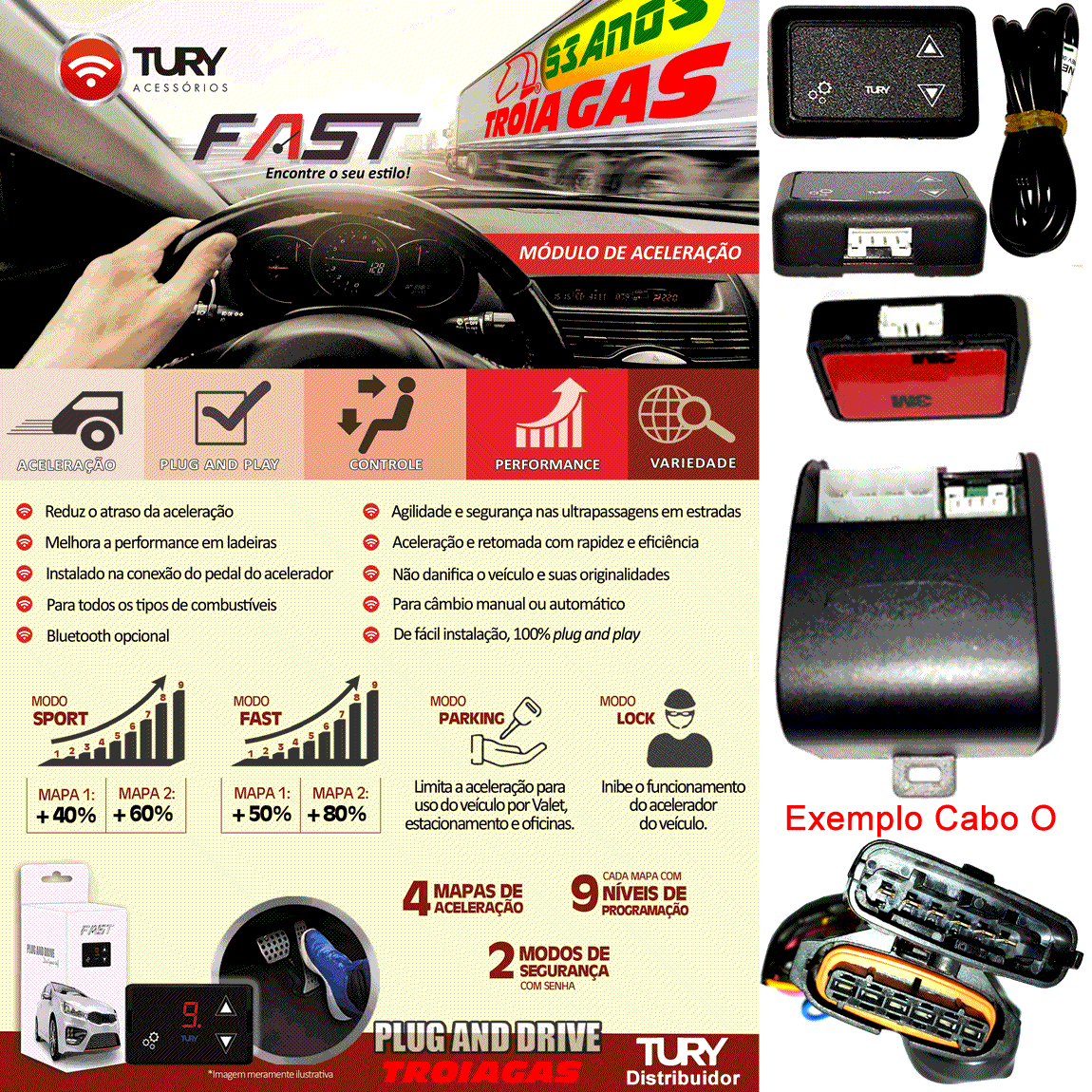 Fast 1.0 H Módulo Acelerador Audi VW Porsche Plug & Play