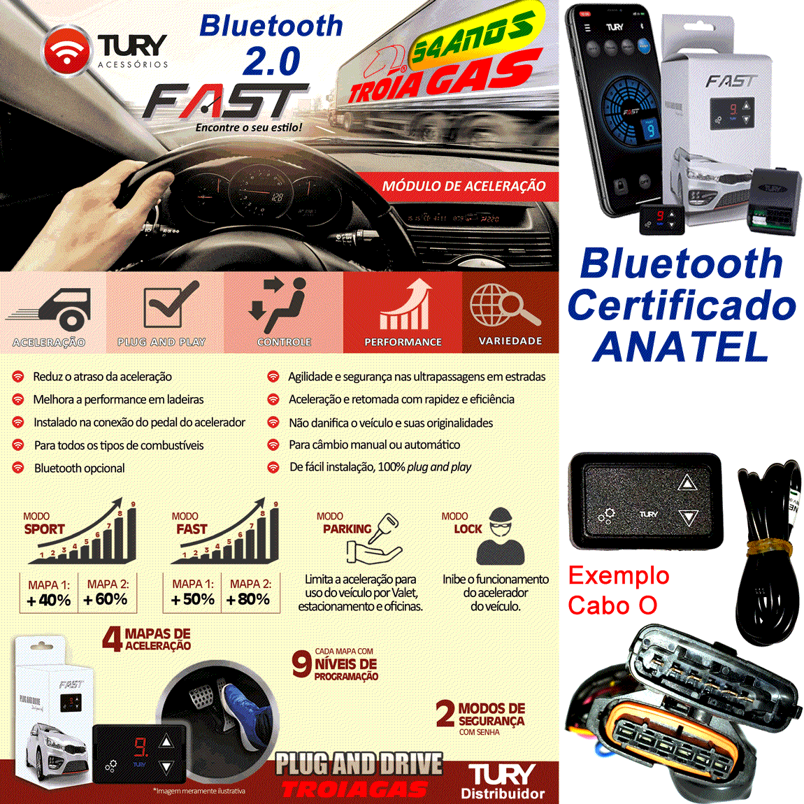 Fast 2.0 AB Chevrolet GM Módulo Acelerador Bluetooth Plug & Play