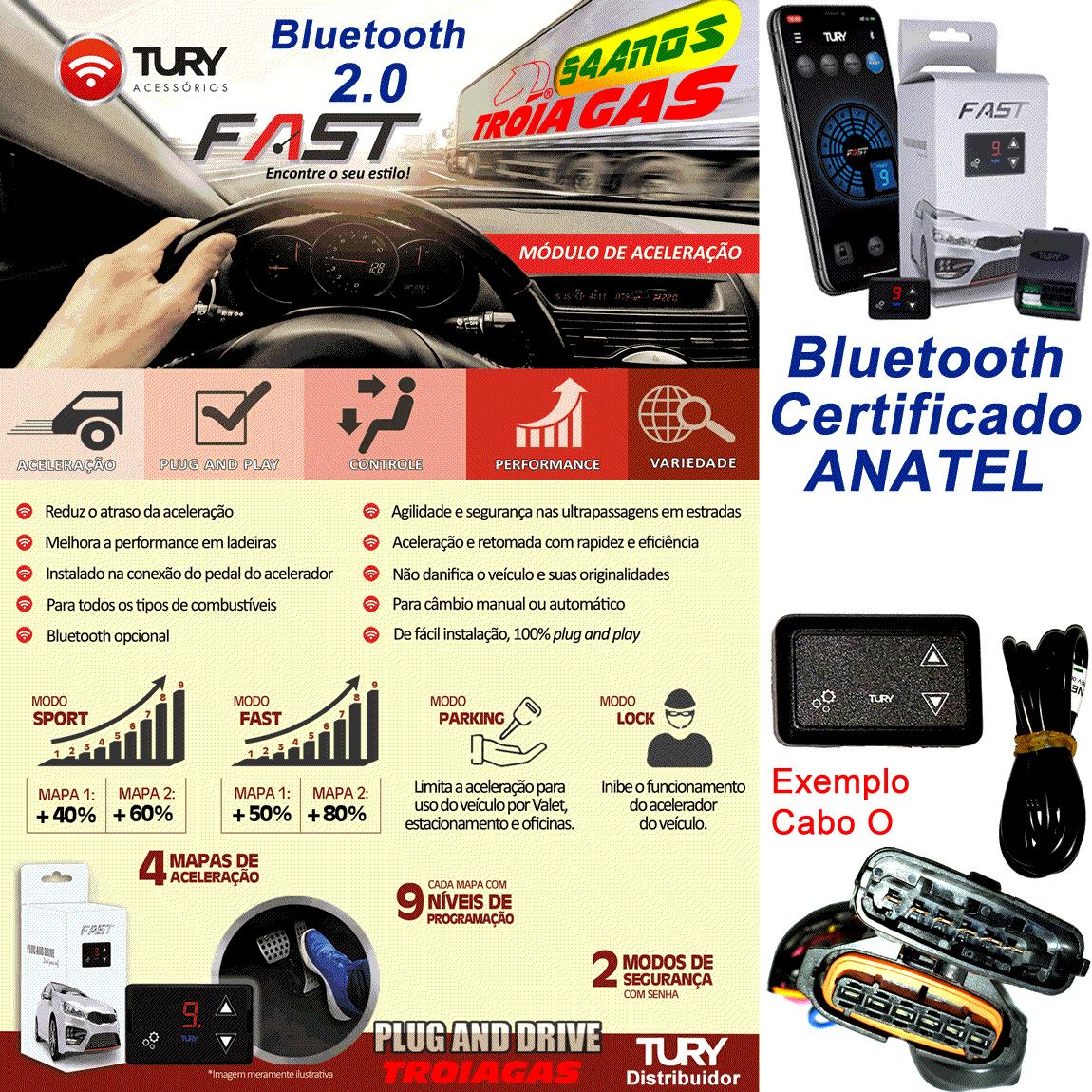 Fast 2.0 D Módulo Bluetooth Acelerador Toyota Suzuki Mitsibishi Plug & Play TURY