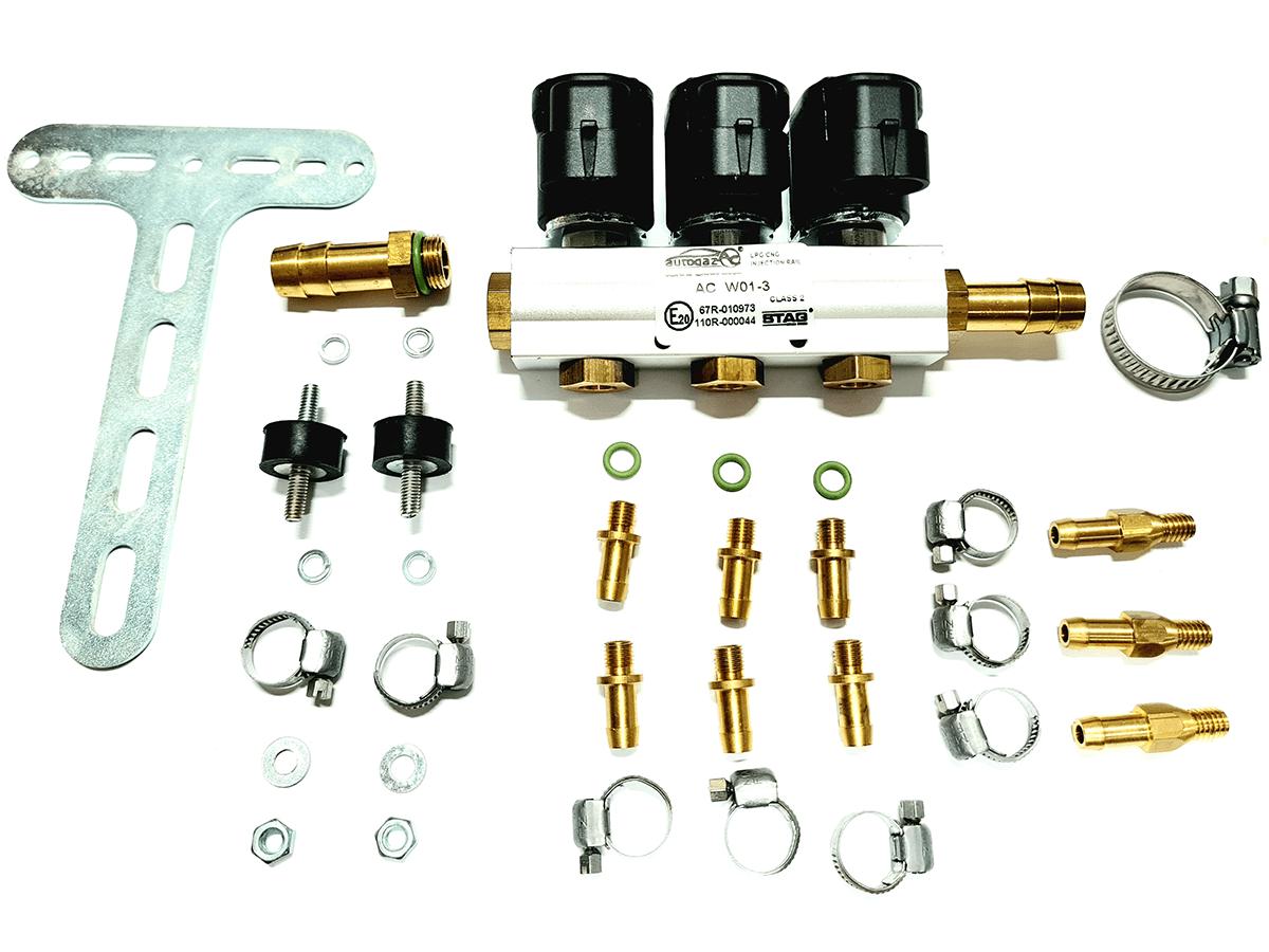 Flauta 3 Bicos GNV 5ª geração Rampa STAG W01-3 TURY GAS