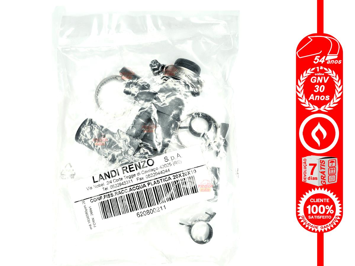 Kit 2 T Redução Mangueira de Água e 8 Abraçadeiras GNV Landi Renzo