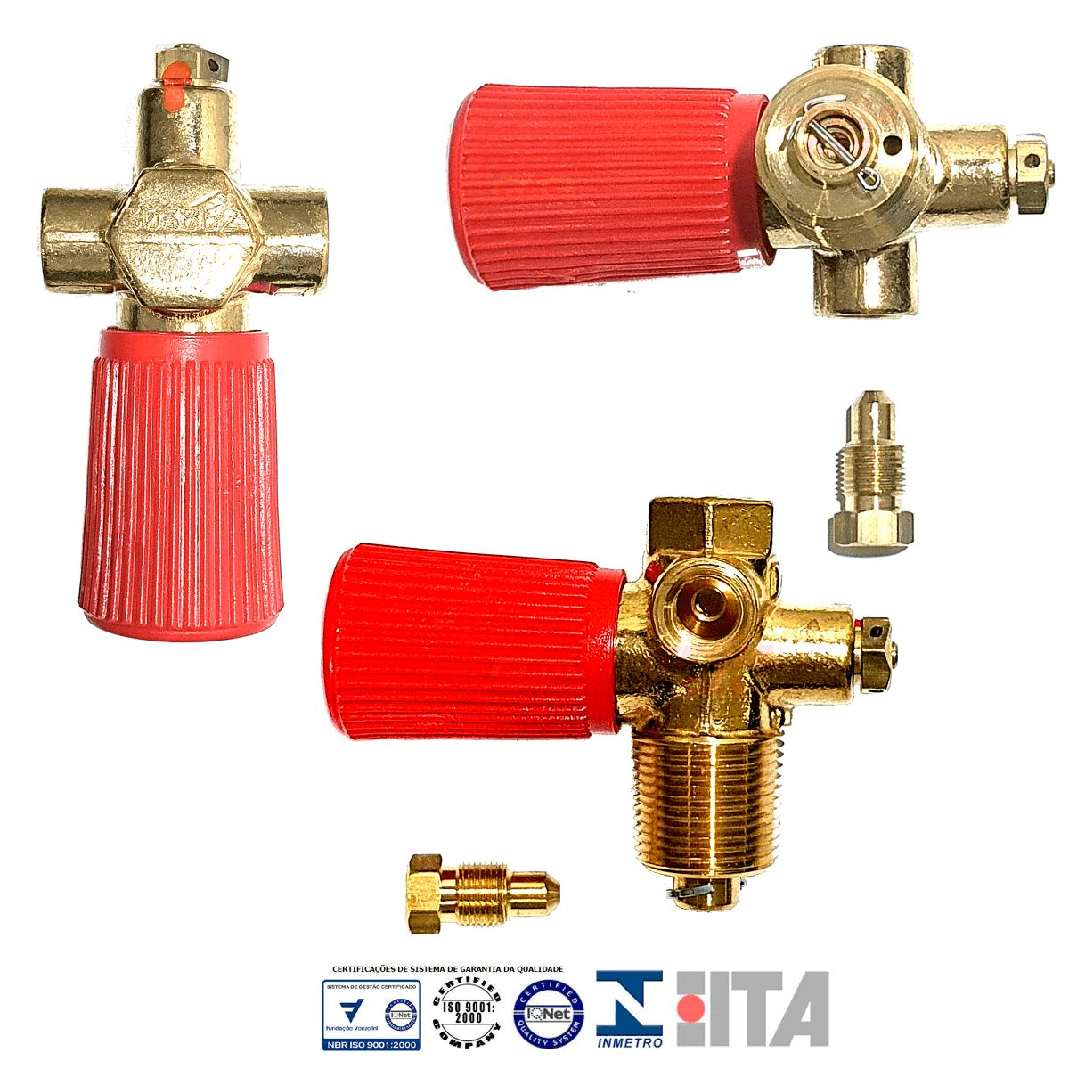 Kit 3 Válvulas GNV ITA Cilindro com 2 Válvulas de Segurança INMETRO