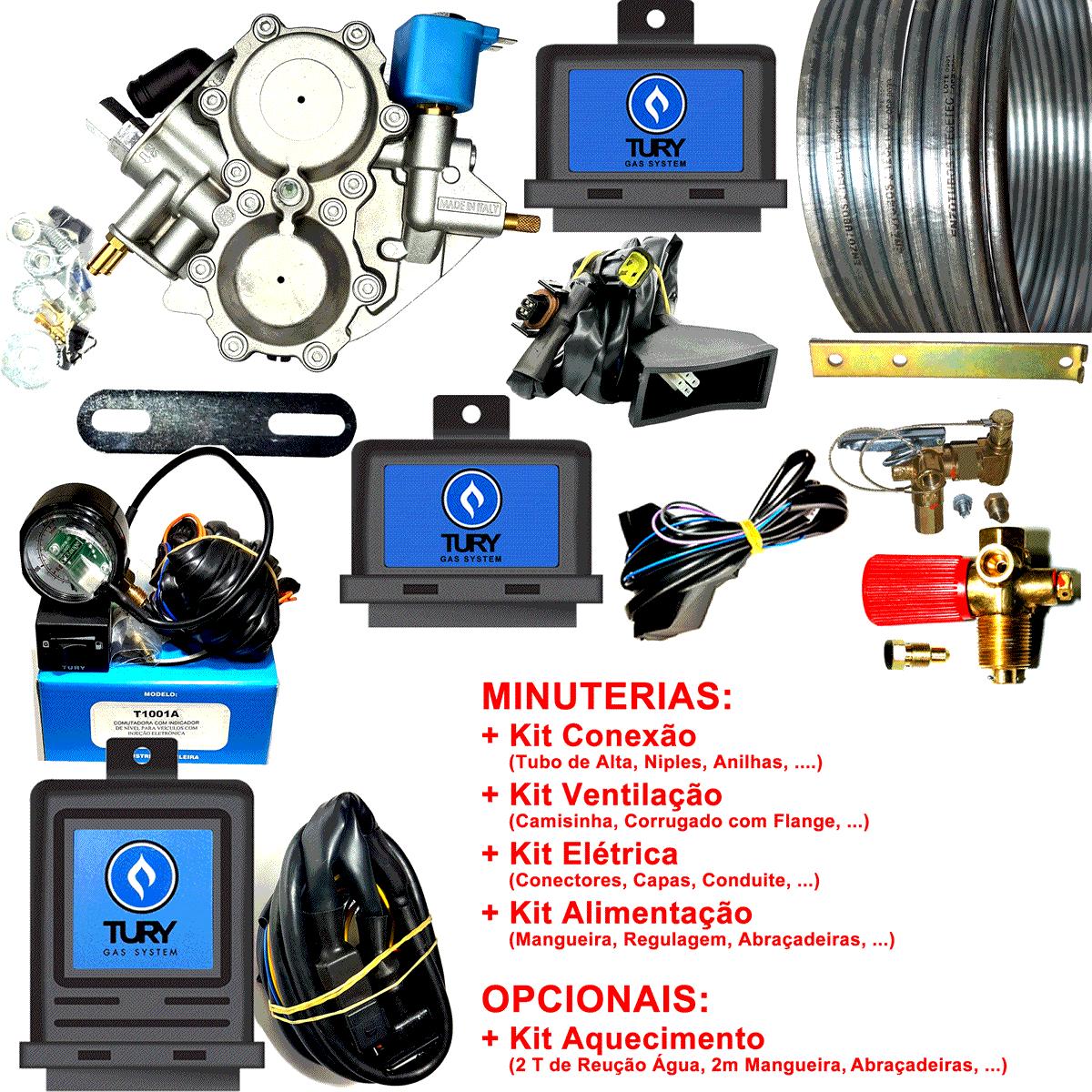 Kit 3ª Geração GNV LOVATO Mono Variador + 2 Válvulas + Minuterias