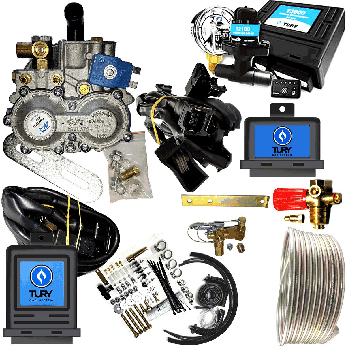 Kit 4ª Geração Tomasetto TURY GAS com Variador Válvulas e Minuterias