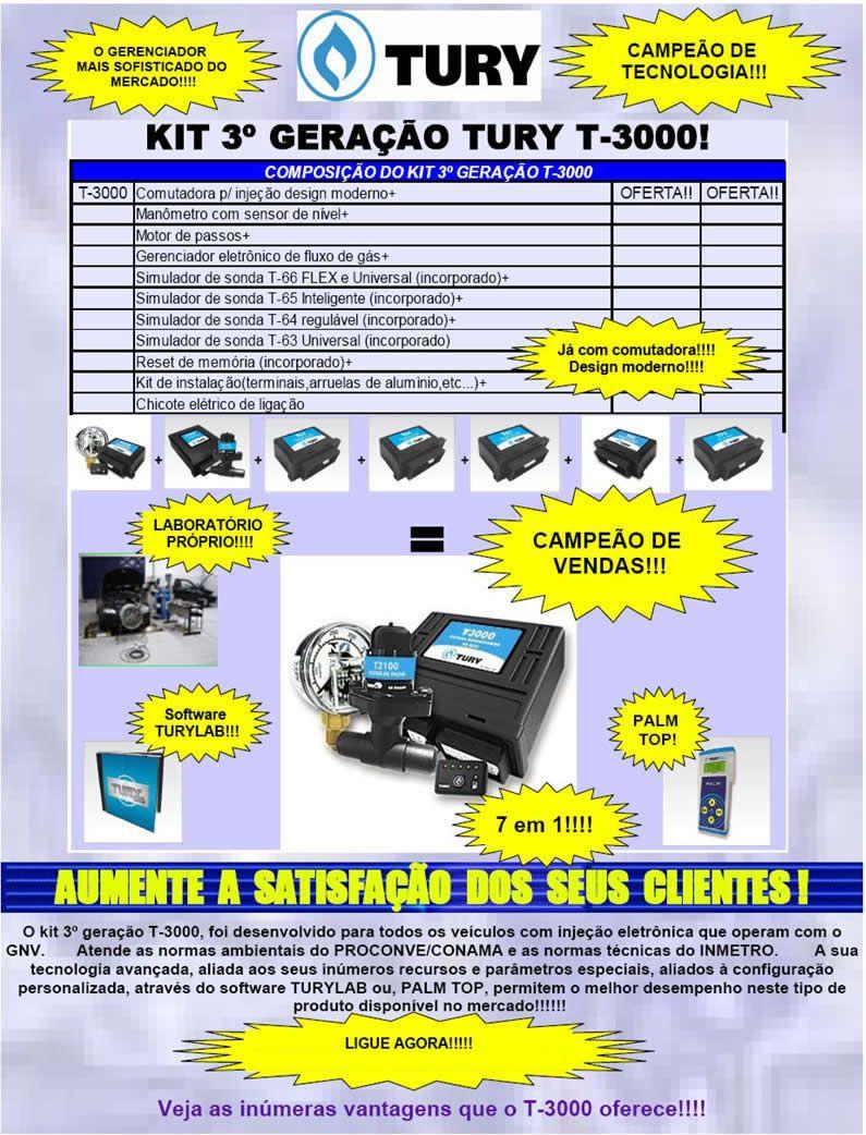 Kit 4ª Geração TURY GAS Rodima ITA Variador Válvulas e Minuterias