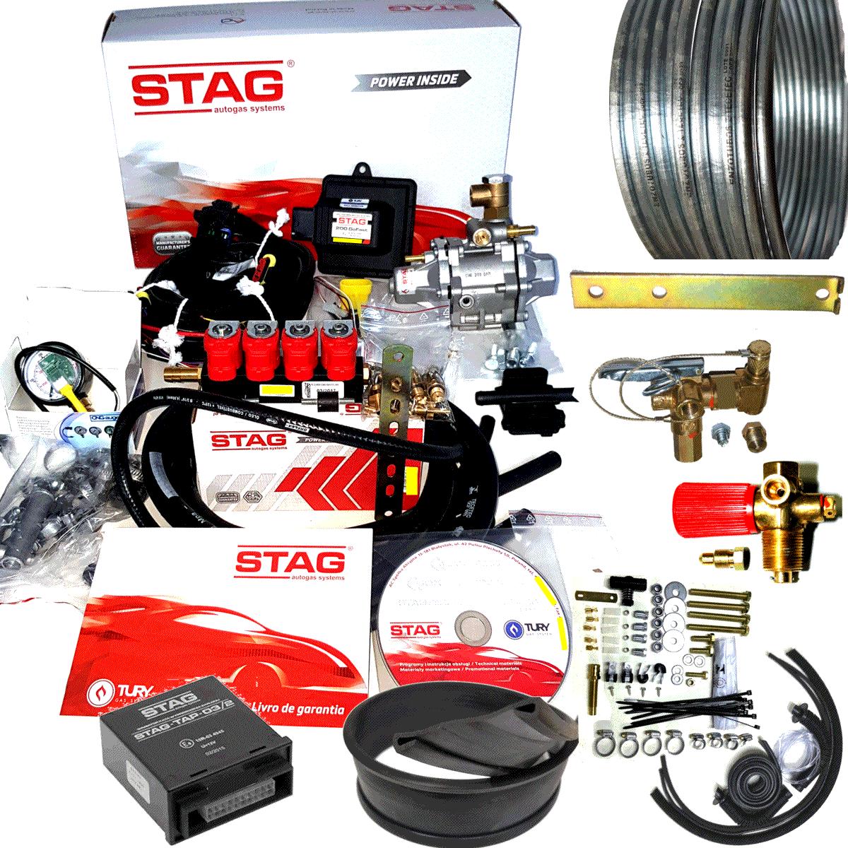 Kit 5ª Geração GNV STAG variador TAP2 com 2 Válvulas e Minuterias