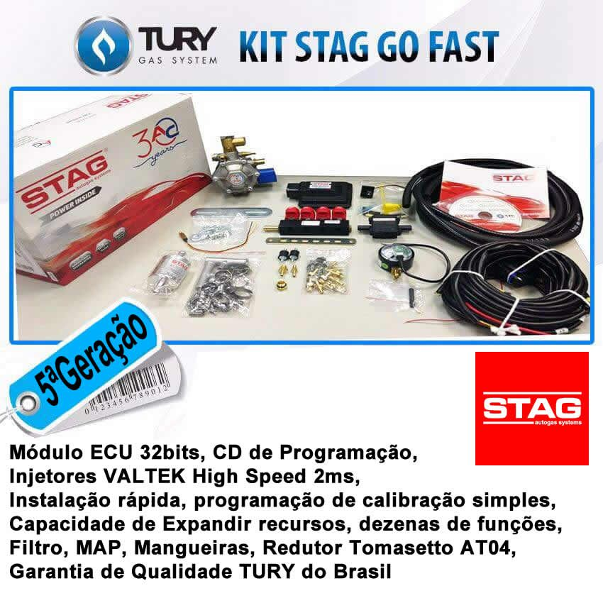 Kit 5ª Geração GNV STAG variador TAP1 com 2 Válvulas e Minuterias