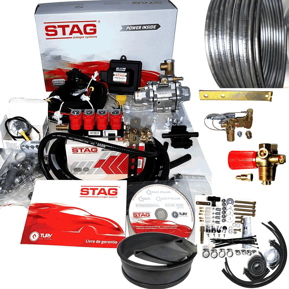 Kit 5ª Geração STAG 200 GosFast 4 TURY GAS + 2 Válvulas, Minuterias