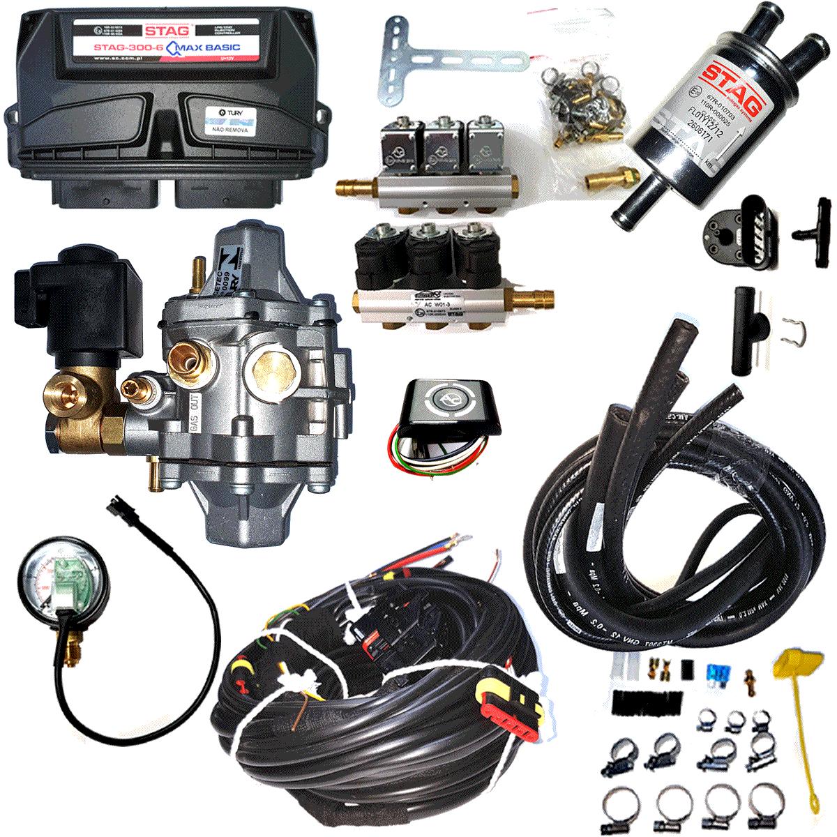 Kit 5ª Geração GNV 6 Cilindros STAG QMAX 300-6 TURY GAS
