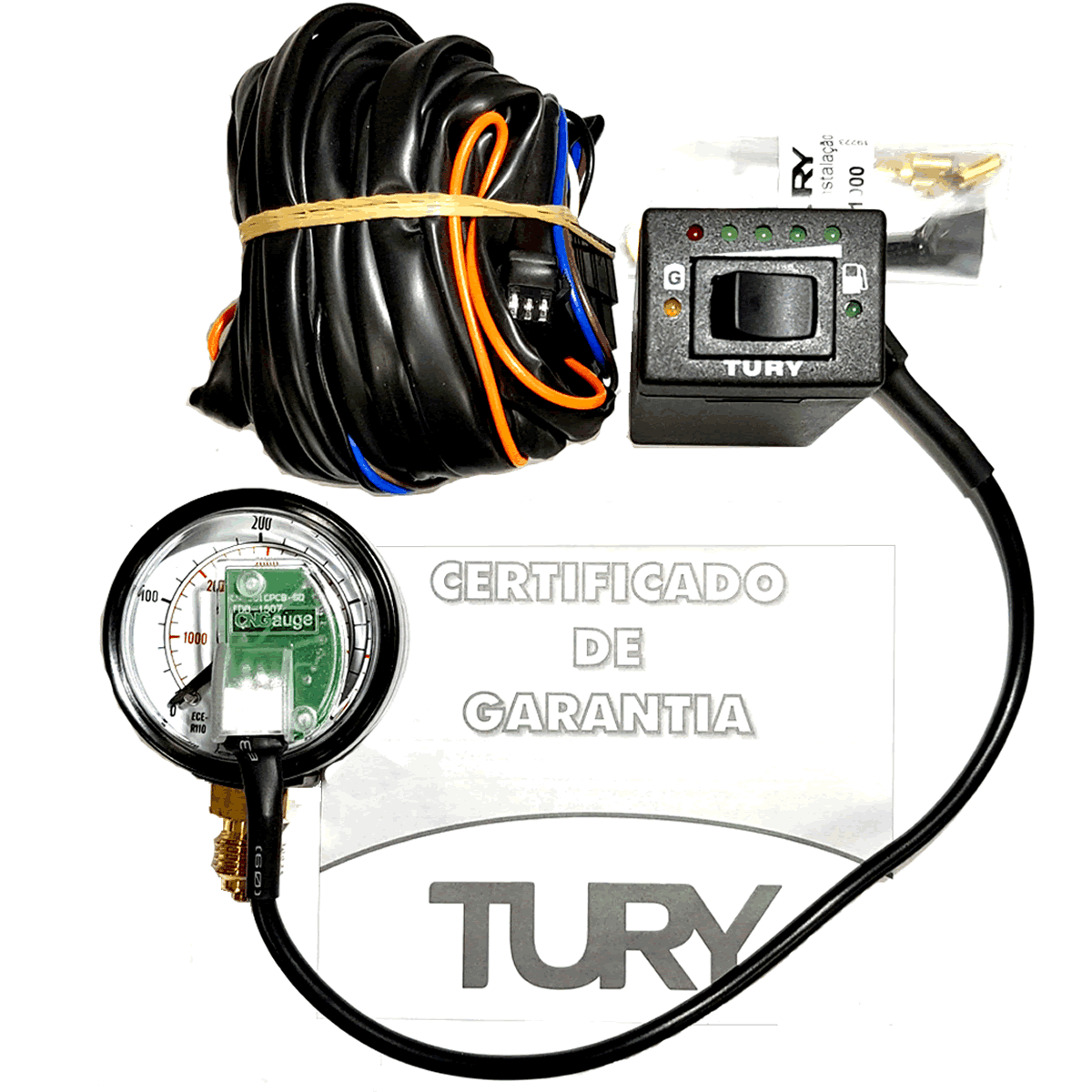 Kit Elétrico TURY GAS T1000 A Chave Manômetro e Chicote