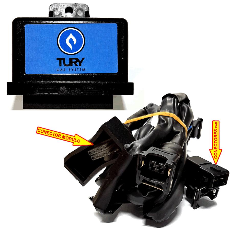 Kit GNV 3ª geração  Landi Renzo Flex TURY c/Variador, Válvulas s/Cilindro e Suporte