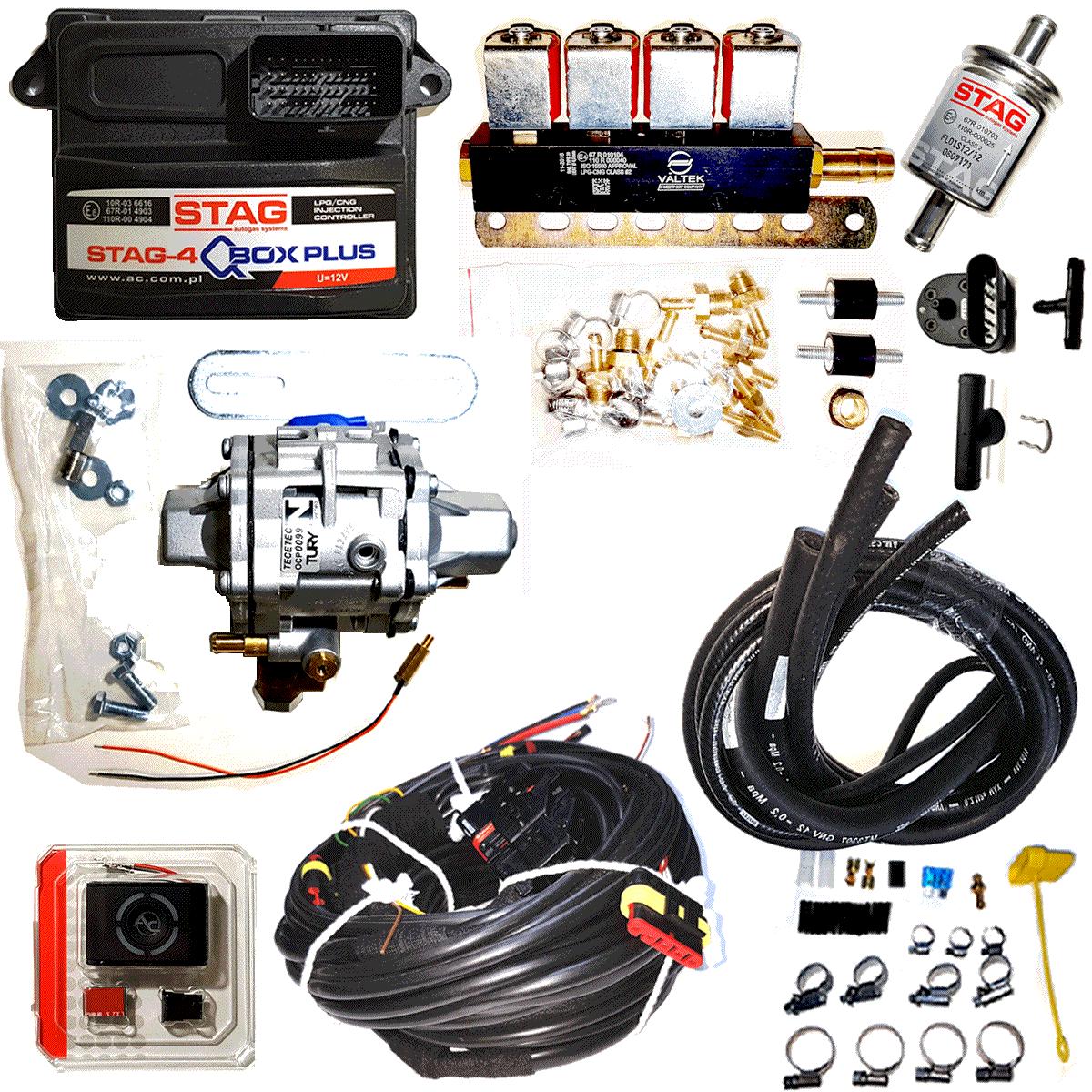 Kit Stag Qbox Plus 5ª Geração 4 cilindros c/OBD Minuterias Variador e Válvulas