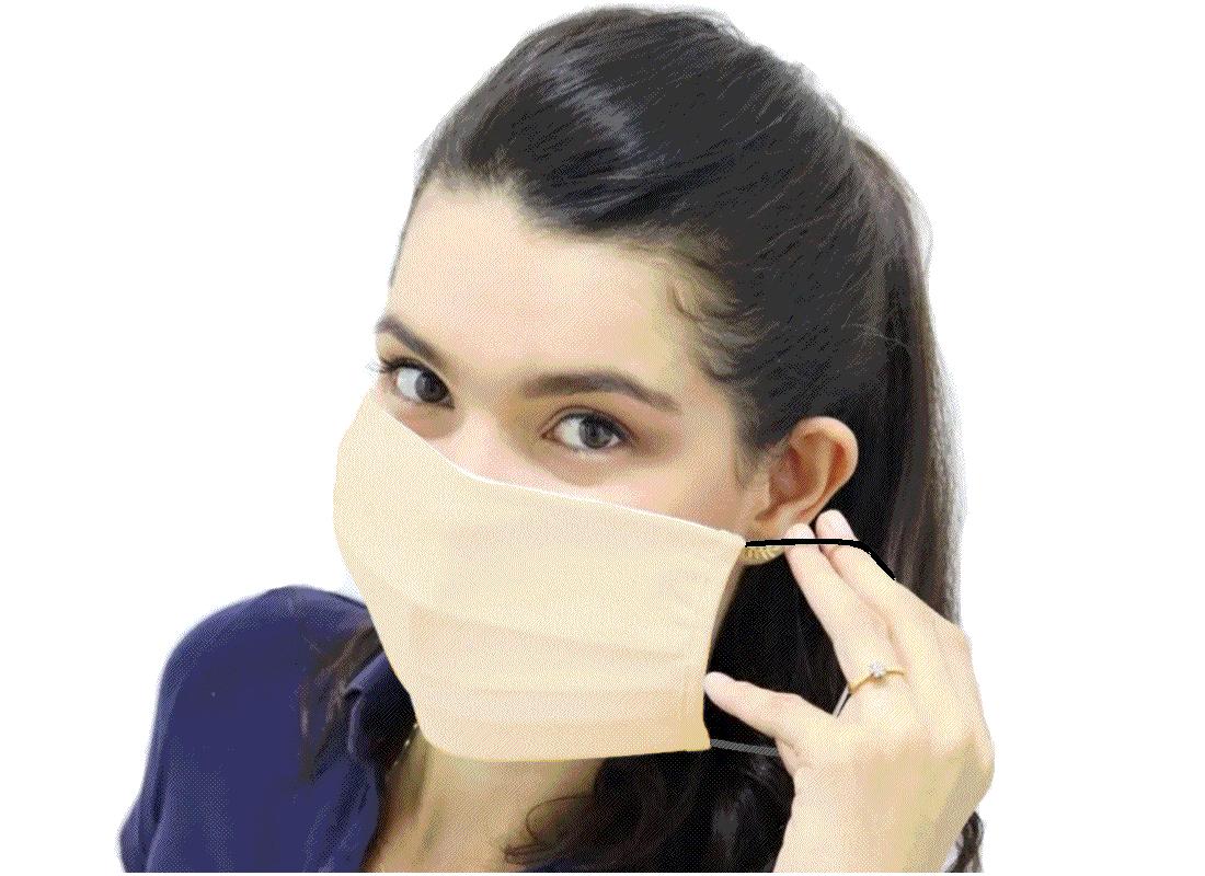 Mascara Protetora Covid19 Dupla em Algodão com Elástico Amarela