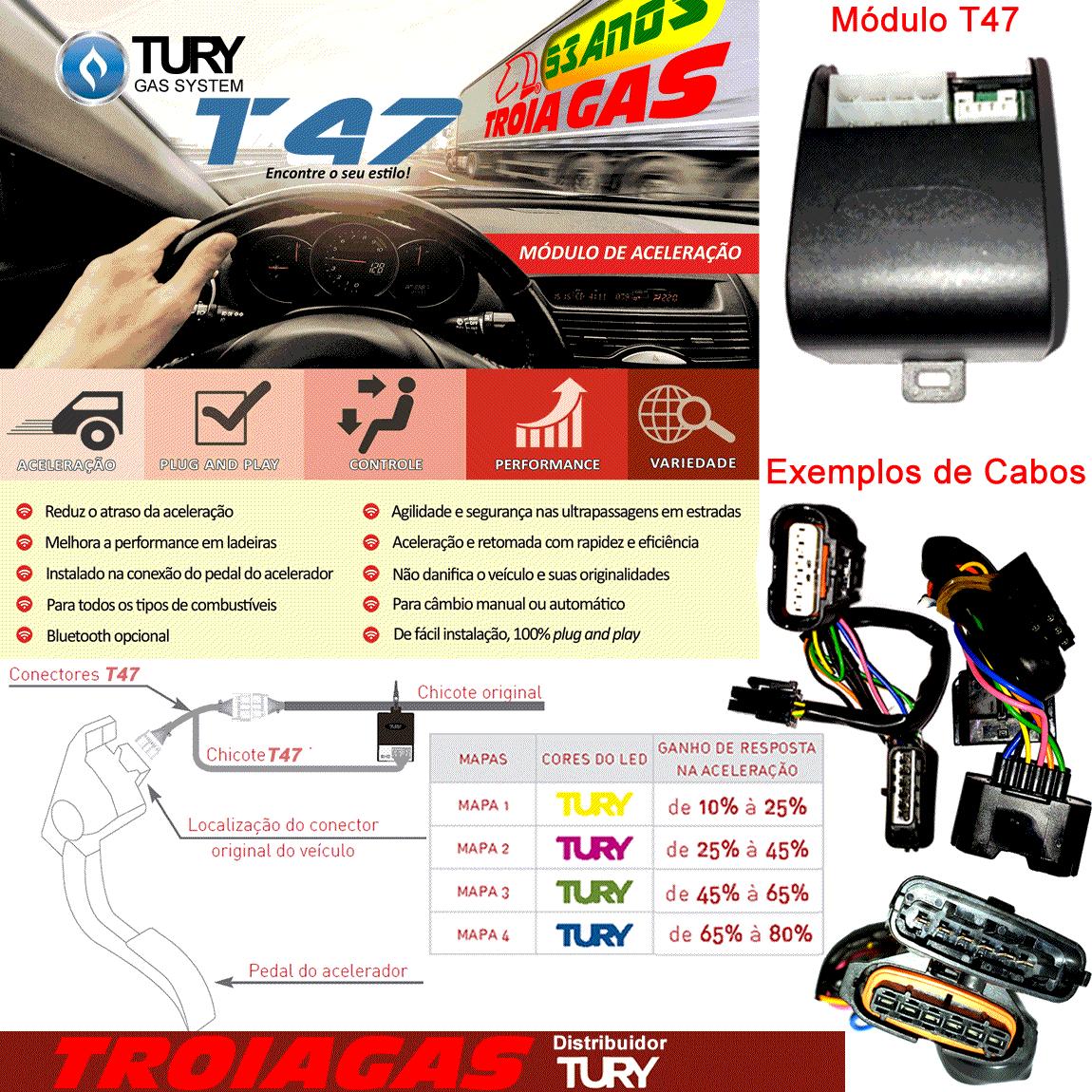 Módulo Acelerador TURY T47 C com Programador e Chicote