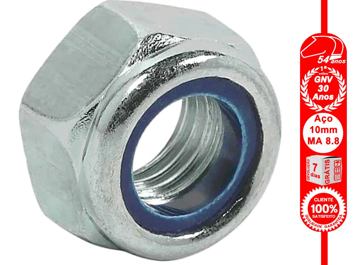 Porca Sextavada 10 mm Auto-travante Nylon MA 8.8 chave 16mm