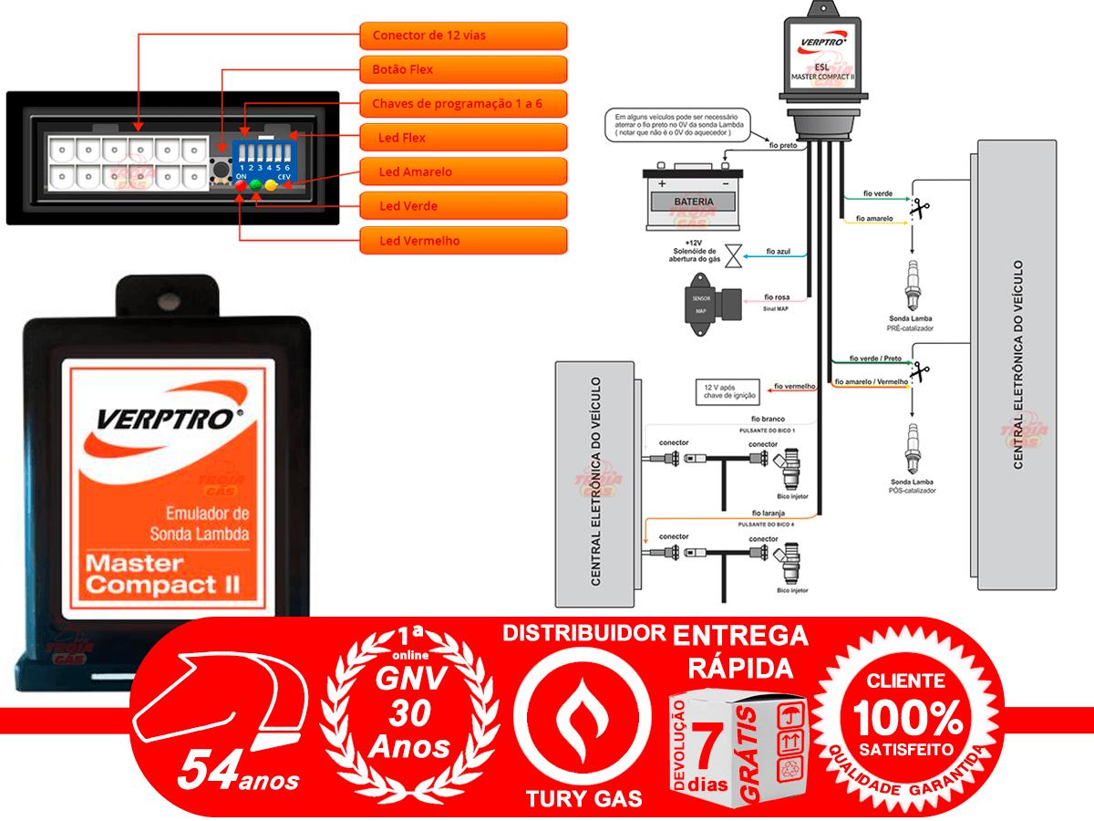 Simulador de 2 Sondas e Flex Verptro Master Compact II e Emulador de 4 Bicos