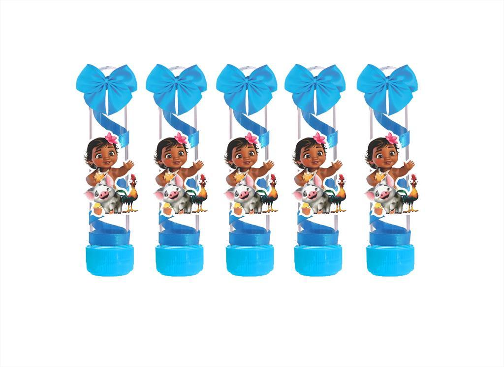 10 tubetes decorado Moana Baby  (azul claro)