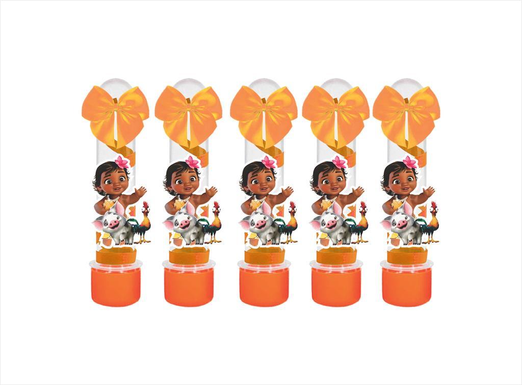 10 tubetes decorado Moana Baby (laranja)