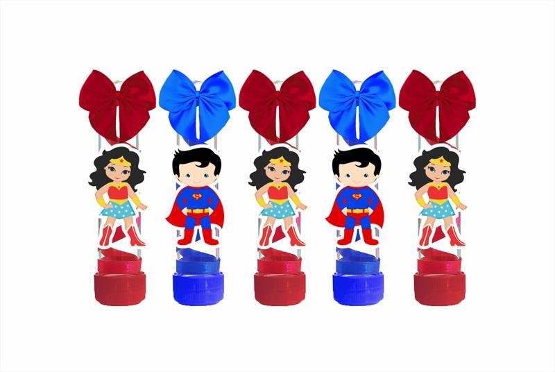 10 tubetes decorado Mulher Maravilha Baby e Super Man Baby