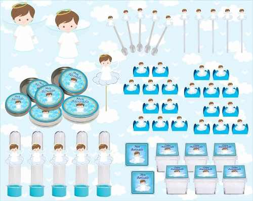 Kit Festa Batizado Menino 161 Peças (20 pessoas)