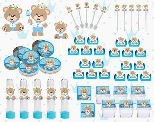 Kit Festa Ursinho Príncipe (azul Claro) 161 Peças (20 pessoas)
